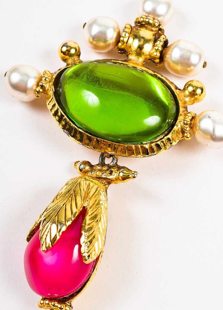 Christian Lacroix Gold Toned, Green, and Pink Stone Faux Pearl Hanging Drop Brooch Pin Detail