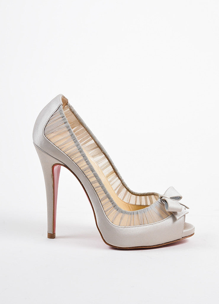 "Christian Louboutin Grey Satin Peep Toe ""Angelique 120"" Pumps Sideview"