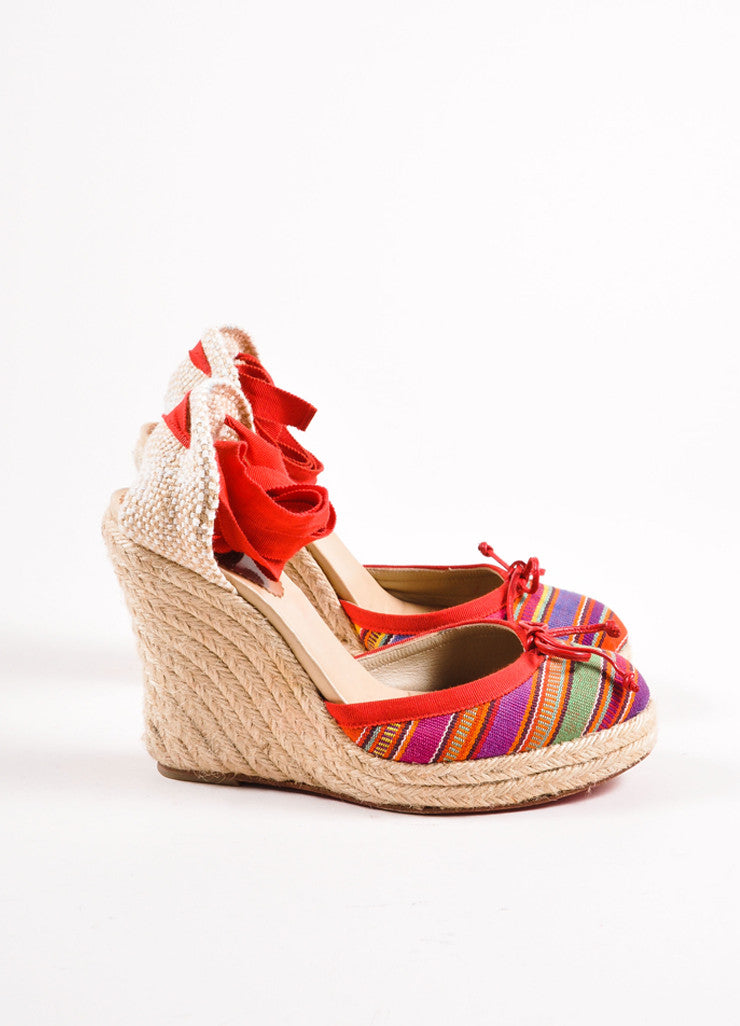 Christian Louboutin Red Striped Tie Wedge Espadrilles Side