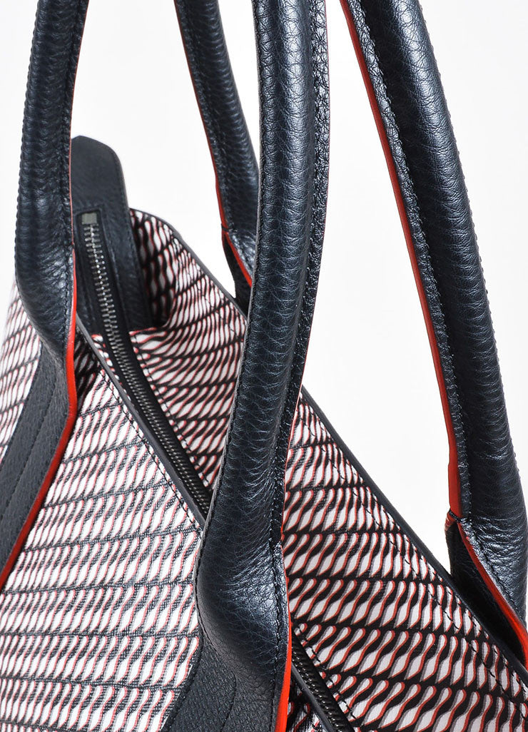 "Black Red Christian Louboutin Shoe Print ""Fredo"" Tote Detail 2"