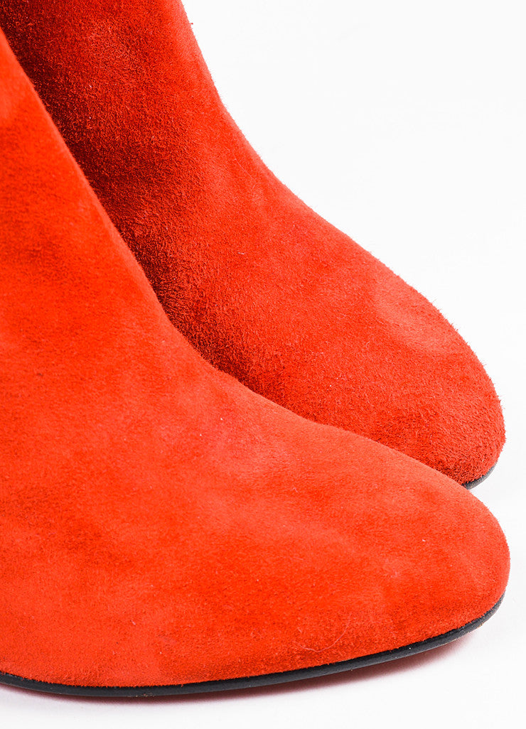 "Christian Louboutin Red Suede Zip Back ""Miss Tack 70"" Heel Boots Detail"