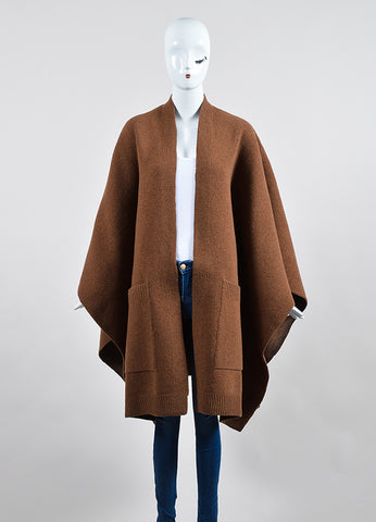 """Vicuna"" Brown Derek Lam Wool and Silk Oversized Cape Frontview"