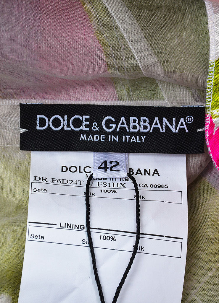 Dolce & Gabbana White, Pink, and Green Abstract Print Belted Dress Brand