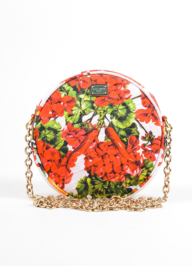 "Dolce & Gabbana Pink, Red, and Green Floral and Fruit Round ""Glam"" Crossbody Bag Frontview"