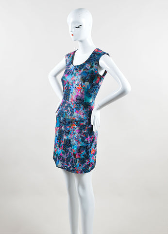 Erdem Blue and Pink Cotton Blend Watercolor Print Sheath Dress Sideview