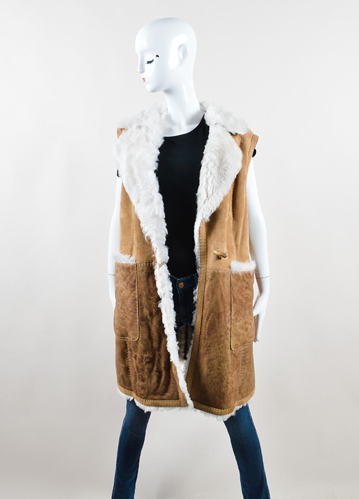 Escada Sport Brown and Cream Lambskin Shearling Long Vest Frontview