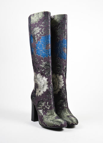 Etro Brown, Green, and Blue Brocade Tall Knee High Boots Frontview