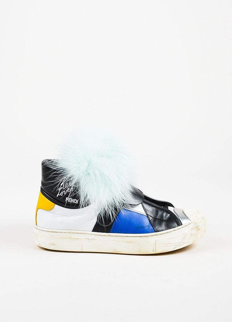 "Fendi Multicolored Leather Fur ""Karlito"" Monster High Top Sneakers Side"
