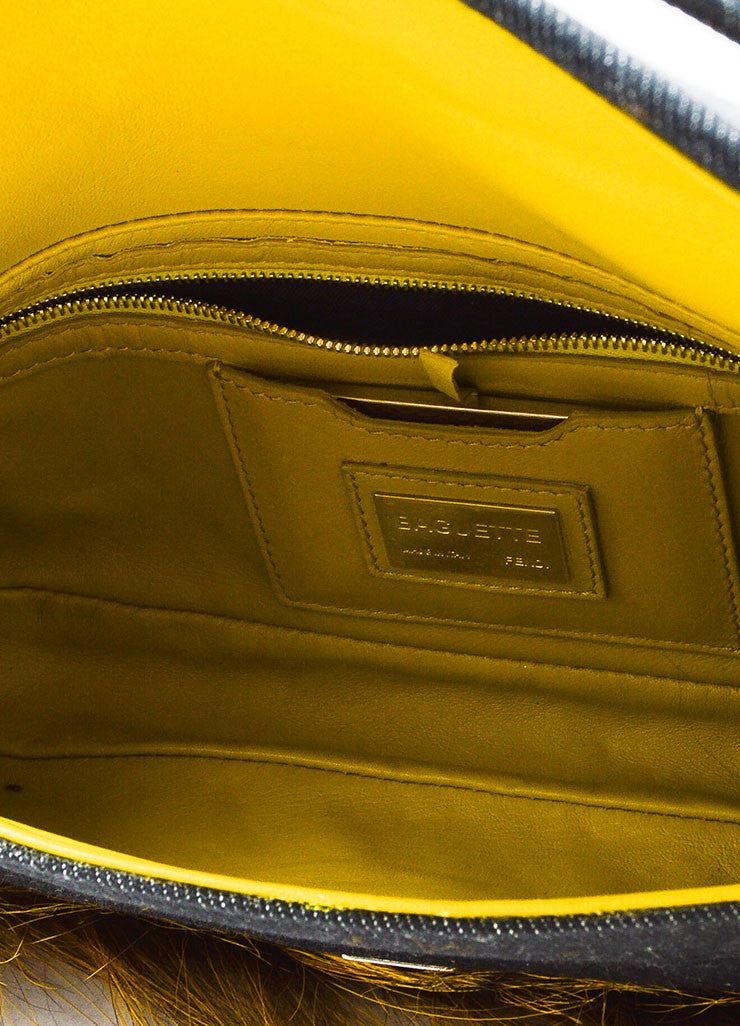 "Fendi Indigo and Yellow Denim Fox Fur Trim ""Be Baguette"" Shoulder Bag Interior"