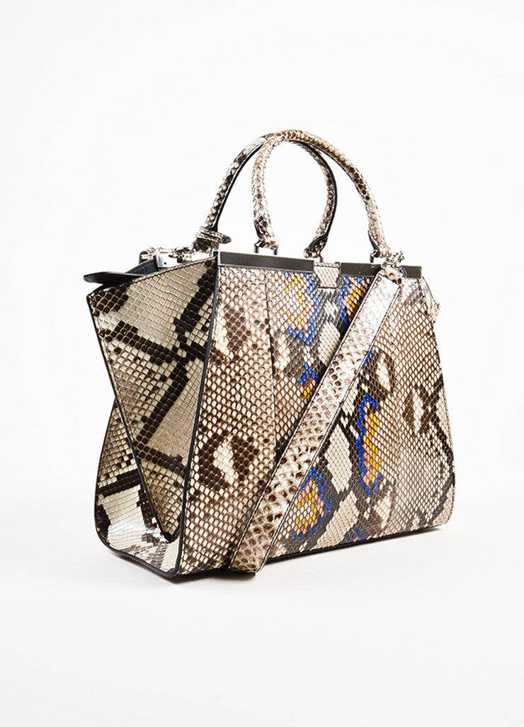 "Fendi Black, White, and Multicolor Python ""3Jour Mini"" Satchel Bag Sideview"