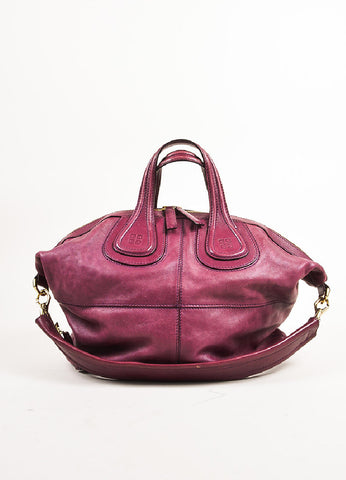 "Givenchy Magenta Leather Gold Toned Zip ""Medium Nightingale"" Bag Frontview"