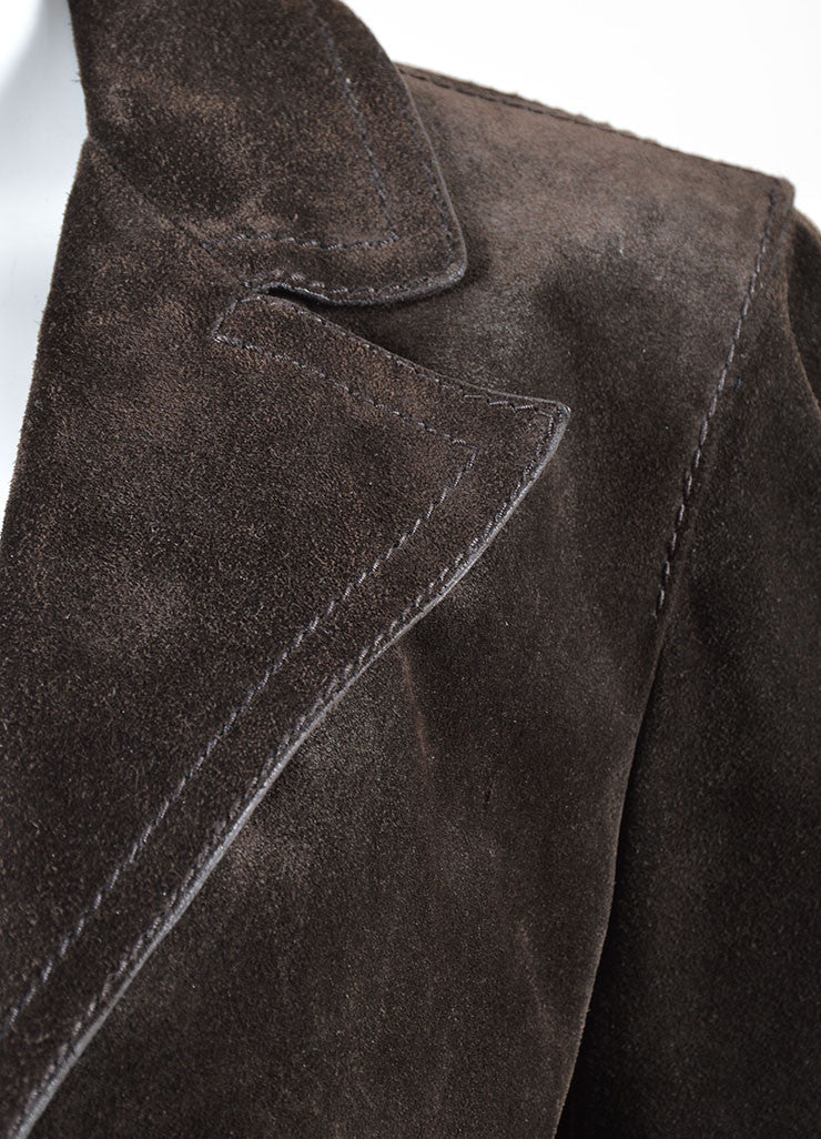 Gucci Dark Brown Suede Button Tailored Jacket Detail