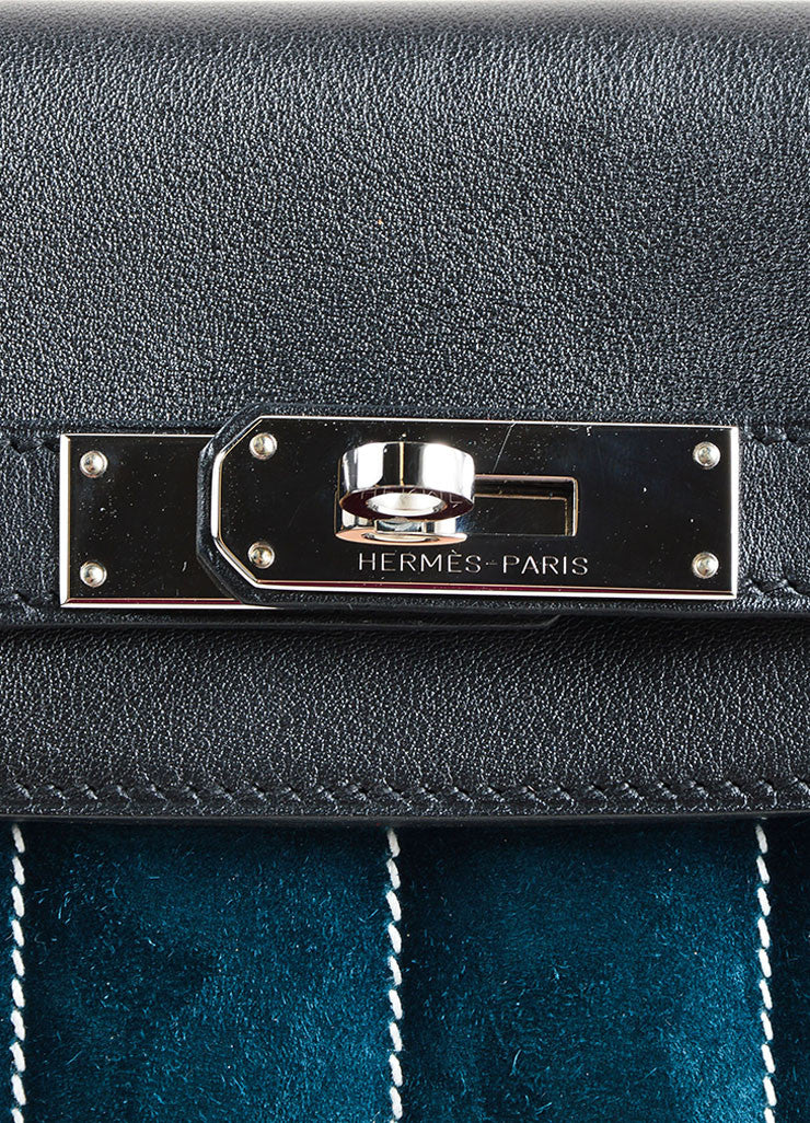 "Hermes Black and Teal Calfskin and Suede Leather Quilted ""Mini Berline"" Shoulder Bag Detail 3"