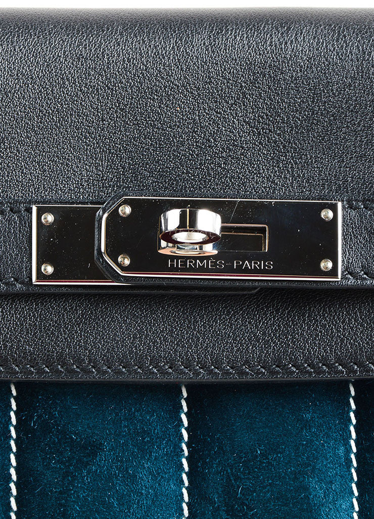 "Hermes RARE Black Teal Calfskin Suede Leather ""Mini Berline"" Bag Detail 4"