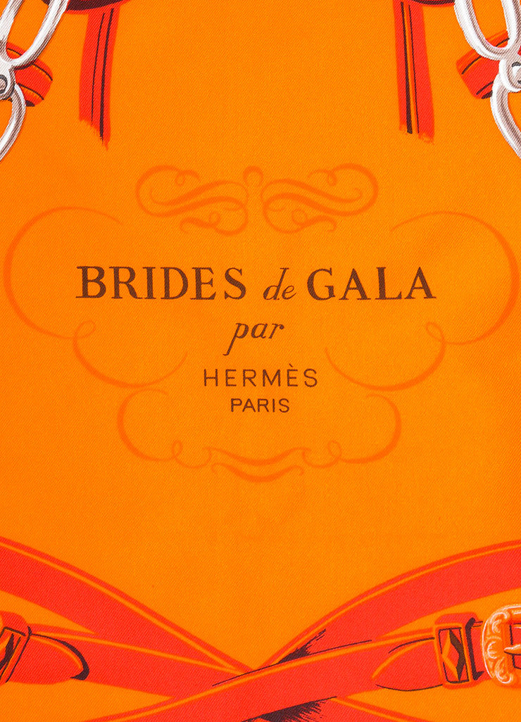 "Red and Orange Hermes Silk ""Brides De Gala"" Equestrian Print Square 90cm Scarf Brand"