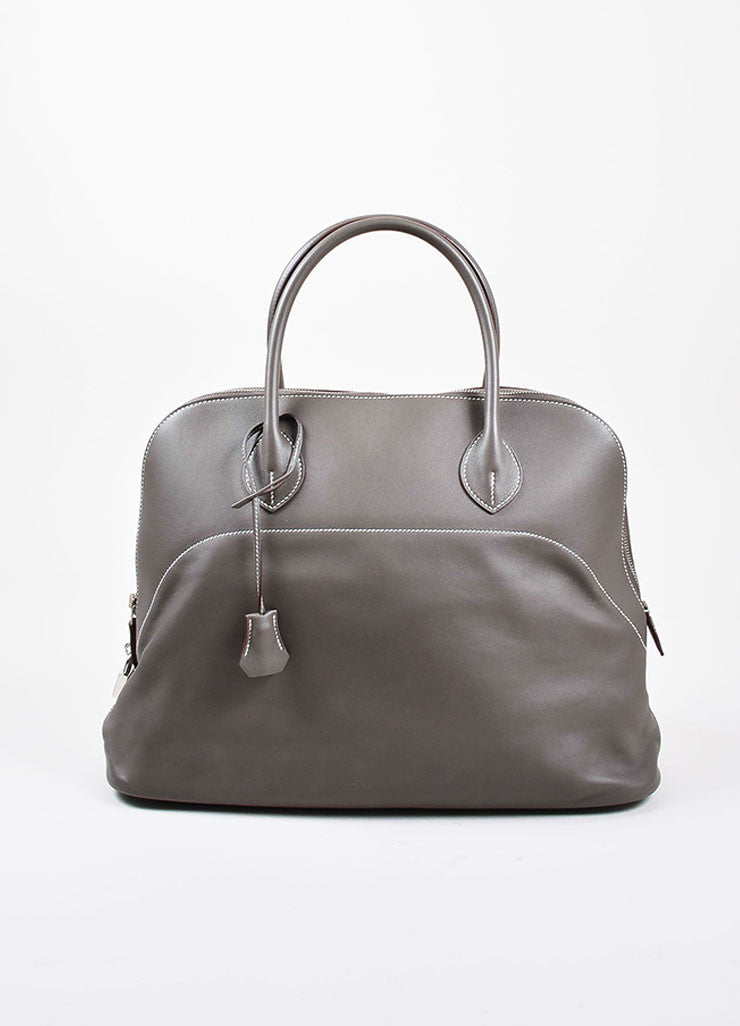 "Hermes 'Vert de Gris' Grey Barenia Leather ""Relax Bolide"" 40cm Tote Bag Frontview"