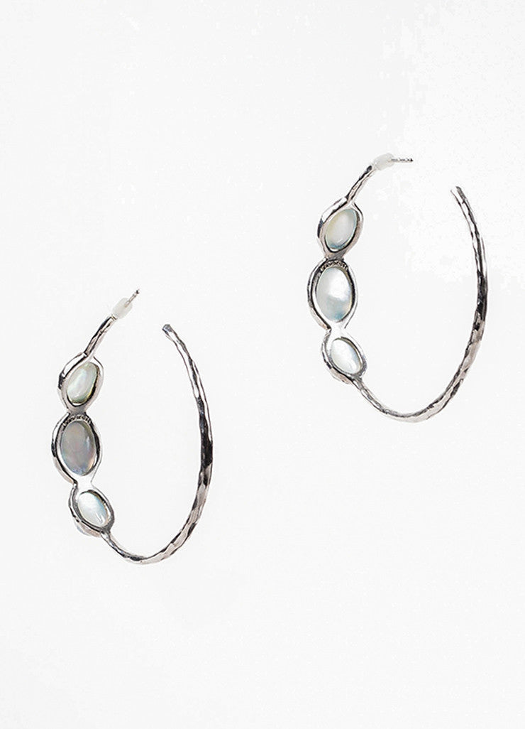 "Ippolita Sterling Silver, Blue Mother Of Pearl, and Quartz ""Rock Candy"" Hoop Earrings Backview"