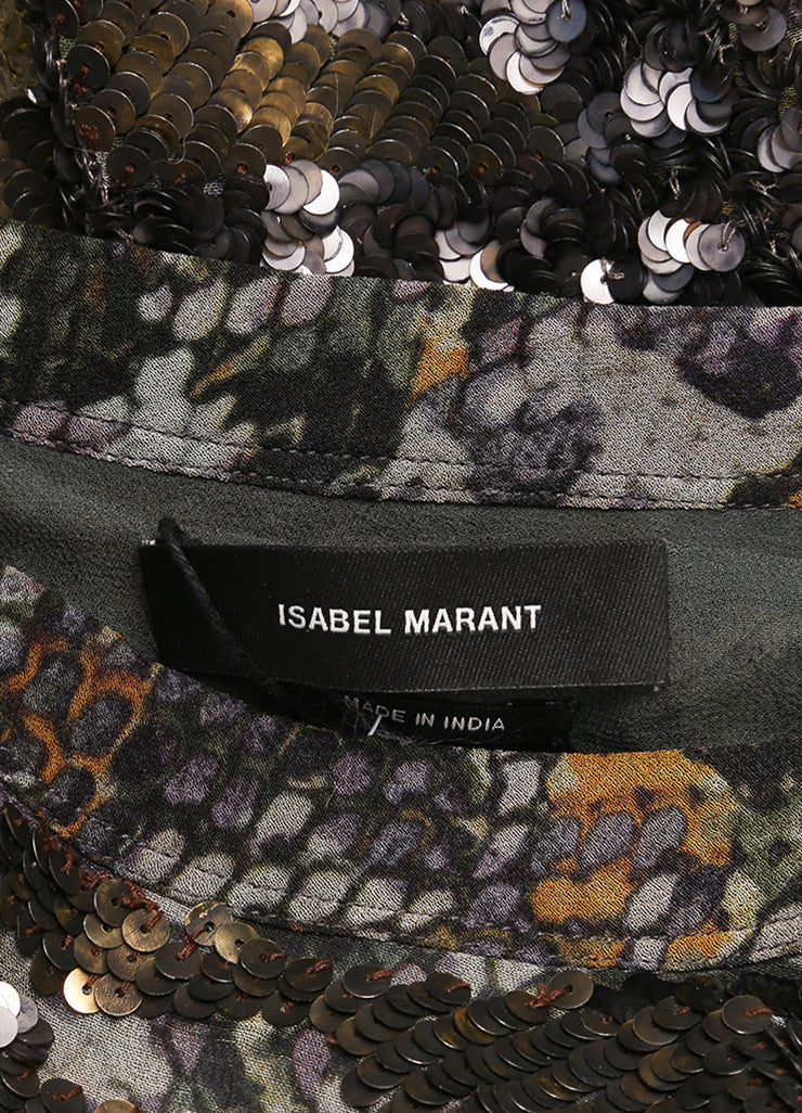"Isabel Marant New With Tags Green and Blue Printed Silk Sequin ""Woodland"" Tunic Top Brand"