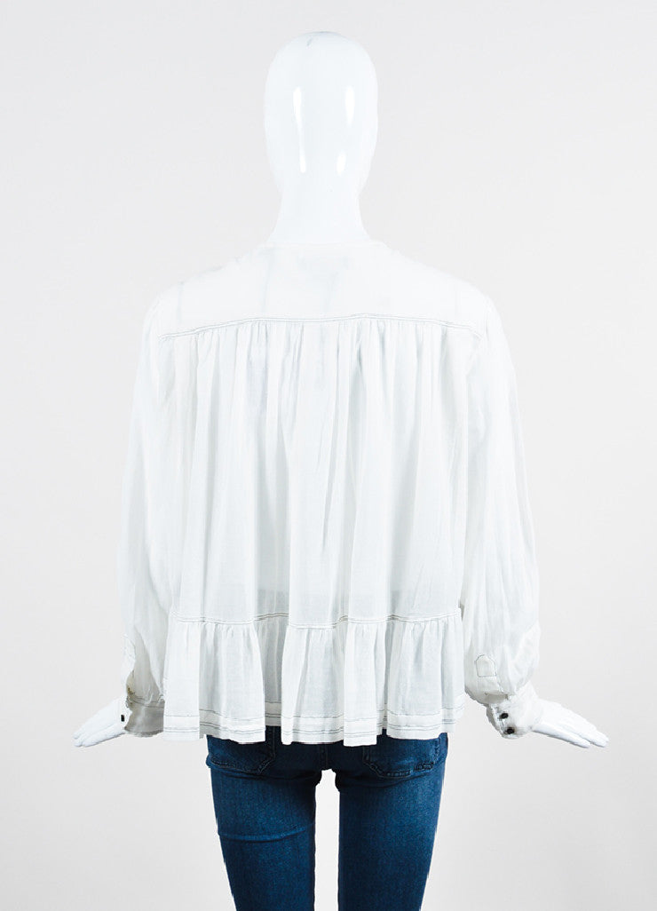 White Isabel Marant Pleated Front Long Sleeve Blouse Backview