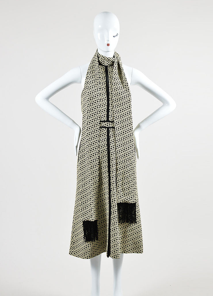 Cream and Black J. Mendel Knot Jacquard Halter Dress with Scarf Frontview
