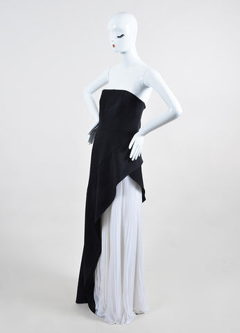 Black and White J. Mendel Silk Chiffon Layered Gown Side