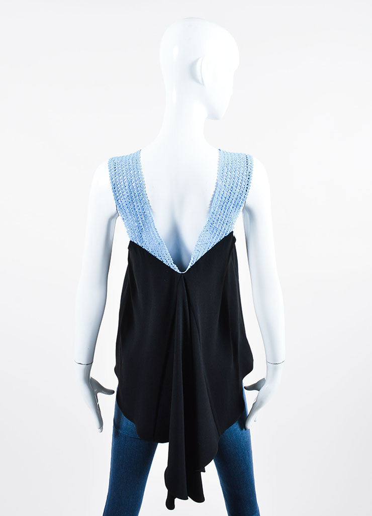 Blue and Black Jonathan Simkhai Crochet Strap Asymmetric Tank Top Backview