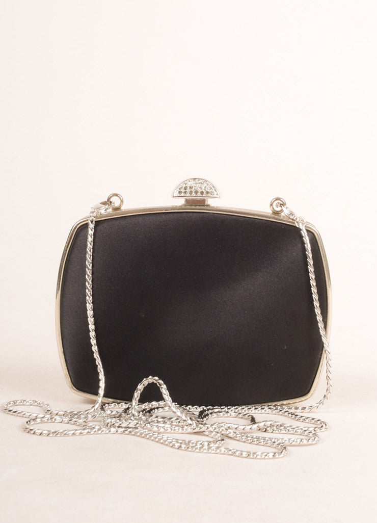 Judith Leiber Black Satin Rhinestone Embellished Clutch Bag Frontview