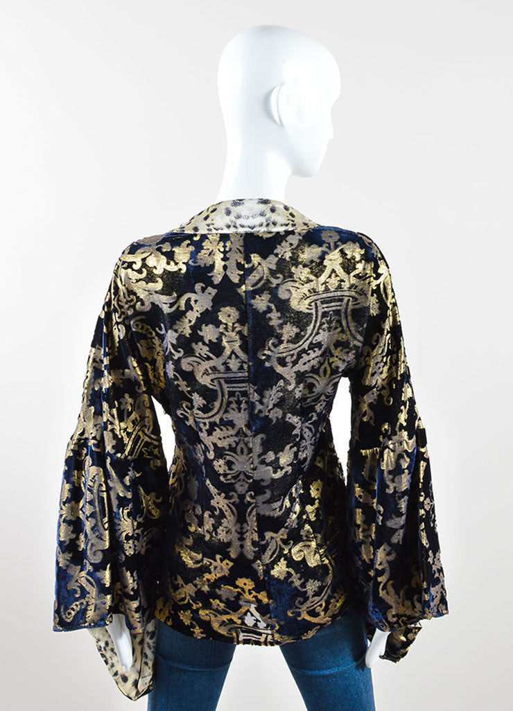 Just Cavalli Navy Blue and Gold Cheetah Print Tunic Back