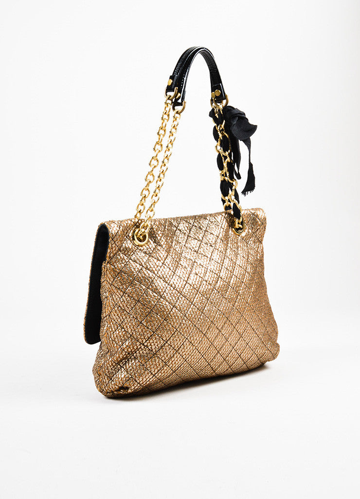 "Lanvin Gold and Black Embossed Chain Flap ""Happy Sac Partage"" Shoulder Bag Sideview"