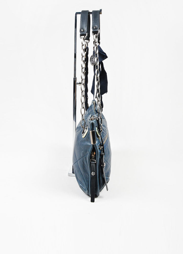 "Navy Blue and Gunmetal Grey Lanvin Leather Grosgrain Chain ""Amalia"" Shoulder Bag Sideview"