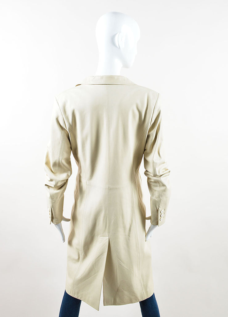 Loro Piana Cream Leather Button Up Trench Coat Backview