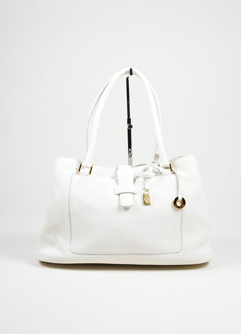 "Loro Piana ""Bellevue Odessa"" White Pebbled Leather Satchel Bag Frontview"
