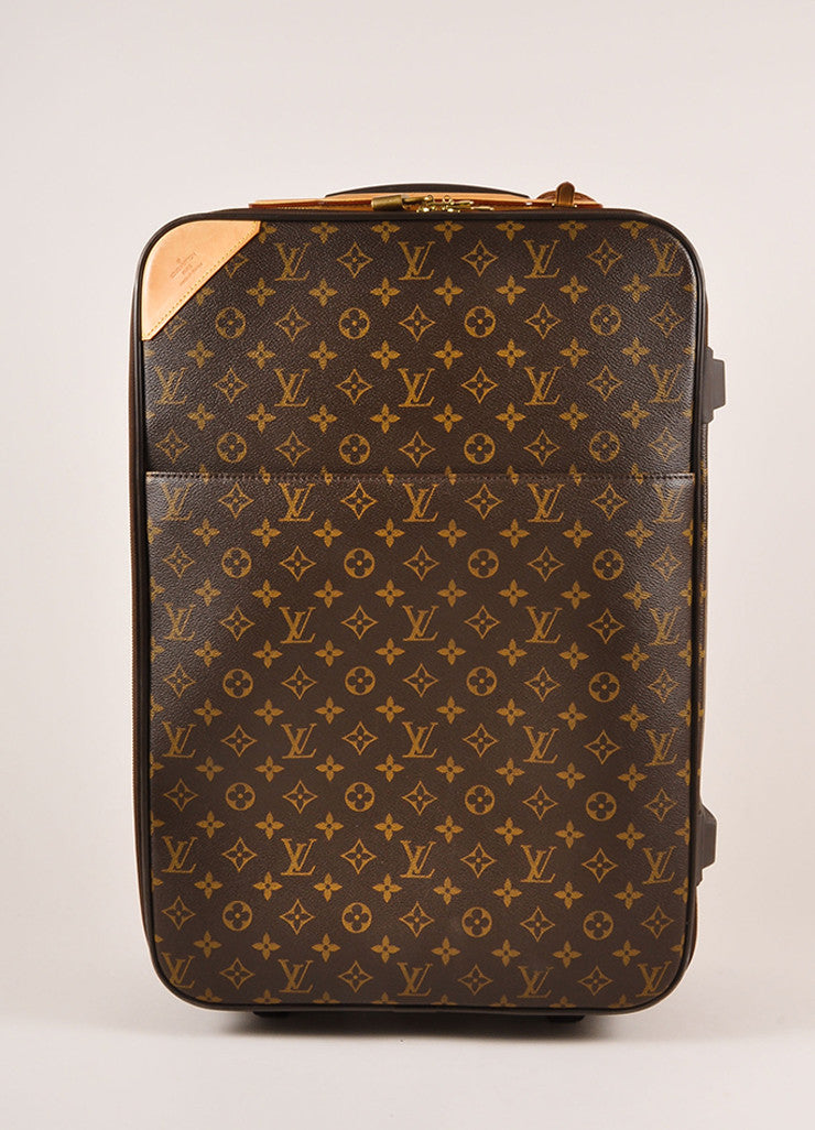 "Louis Vuitton Brown Monogram Canvas ""Pegase 55"" Rolling Luggage Suitcase Frontview"