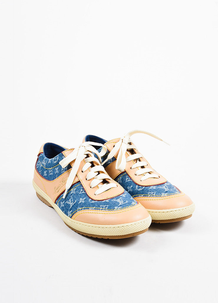 Louis Vuitton Blue Denim and Tan Leather Monogram Logo Lace Up Sneakers Frontview