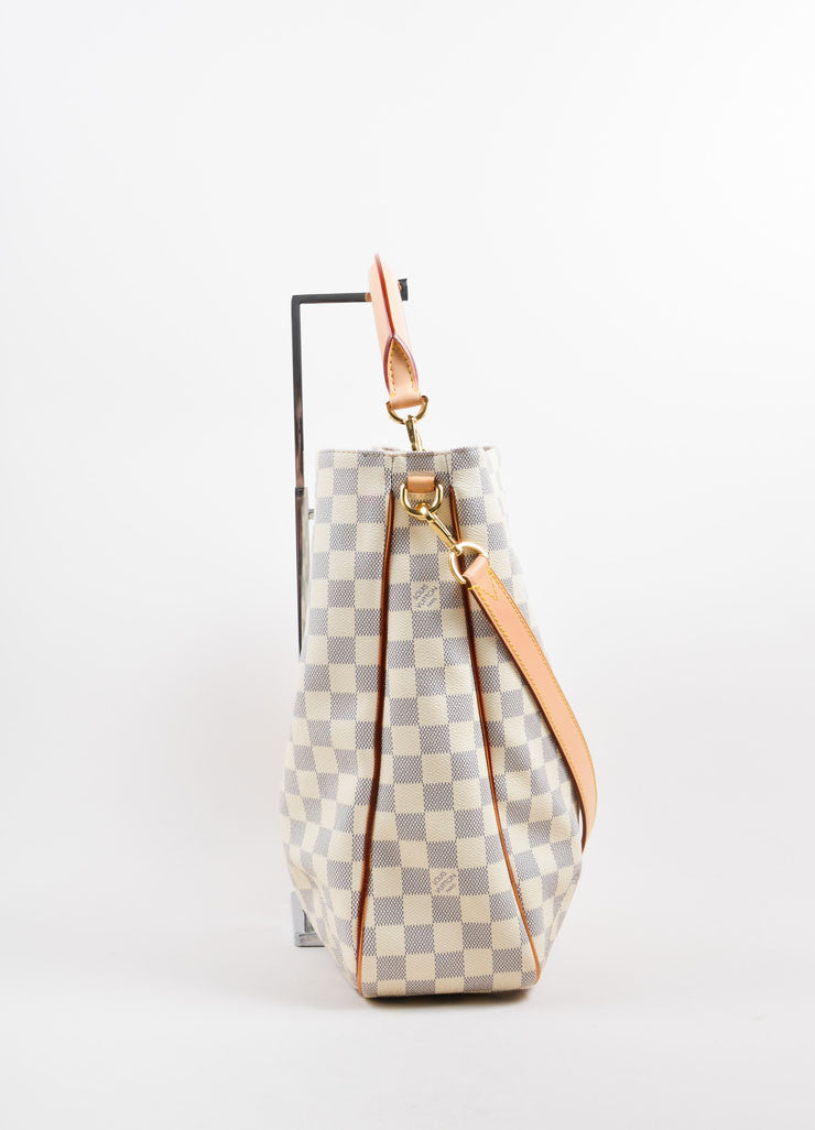"Louis Vuitton Cream and Blue Coated Canvas Checkered ""Damier Azur Soffi""  Bag Sideview"