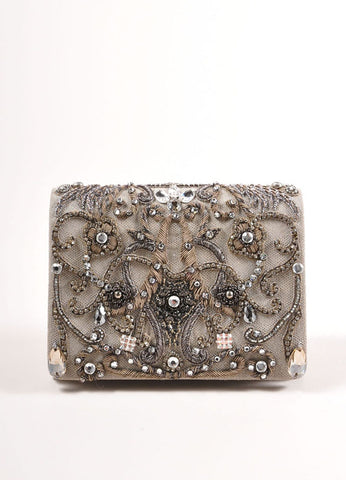 Marchesa Grey Suede Leather Metallic Embroidered Jeweled Clutch Bag Frontview