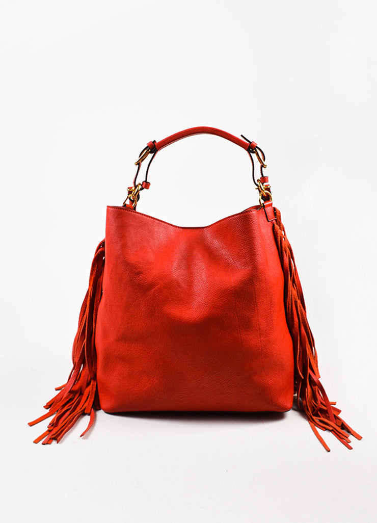 Marni Red and Gold Toned Grained Leather and Suede Fringe Hobo Bag with Pouch Frontview