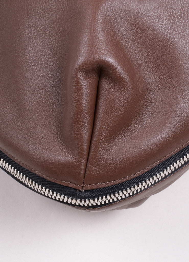 Marni Brown and Red Leather Expandable Zipper Hobo Shoulder Bag Detail