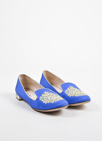 Miu Miu Royal Blue and Gold Embroidered Rhinestone Heel Loafer Slippers Frontview