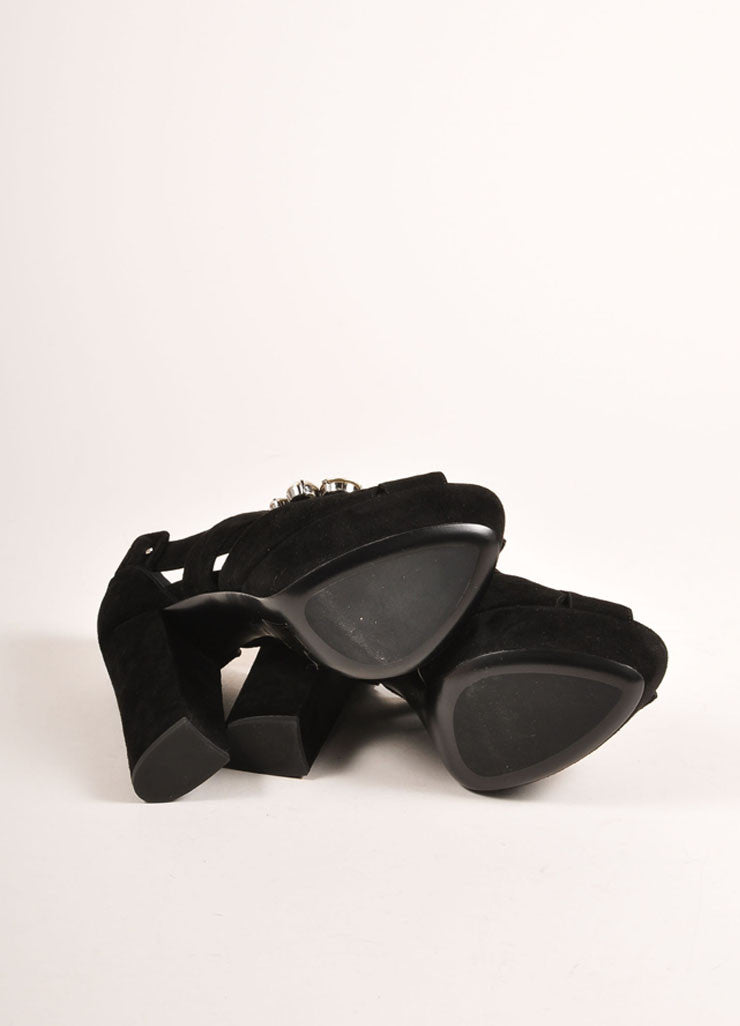 "Miu Miu New In Box Black Suede Platform Jewel Embellished ""Cam"" Platform Sandals Outsoles"