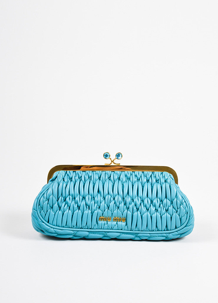 Miu Miu Teal Blue Matelasse Leather Textured Quilted Rhinestone Clutch Bag Frontview