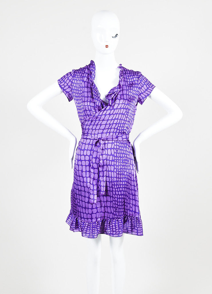 Moschino Cheap and Chic Purple Silk Reptile Print Ruffle Dress Frontview