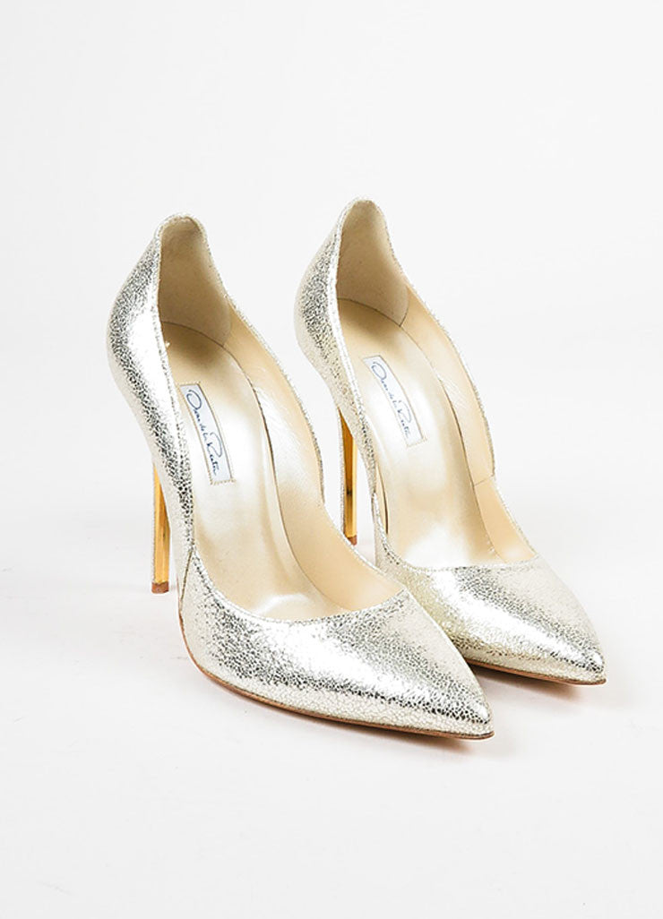 "Oscar de la Renta Metallic Silver Cracked Leather ""Sabrina"" Pumps Frontview"