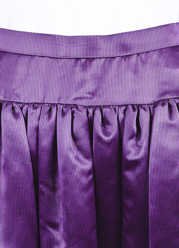 Purple and Black Oscar de la Renta Silk Satin Striped Ball Gown Skirt Detail
