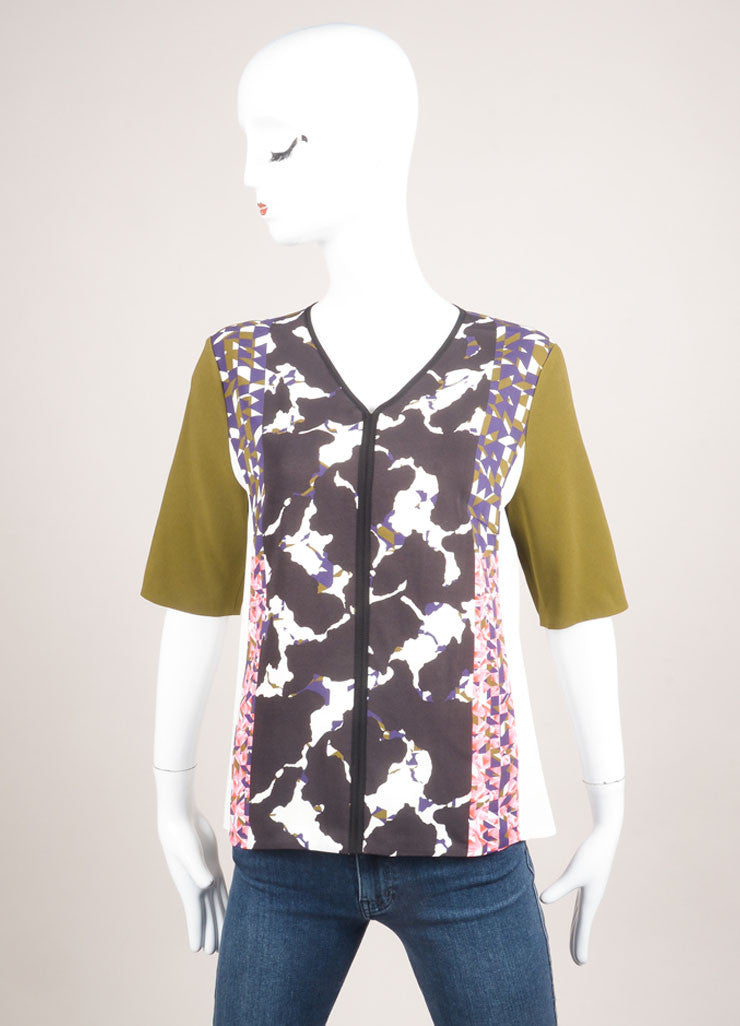 "Peter Pilotto New With Tags Multicolor Abstract Print ""VT"" Mid Sleeve Top Frontview"