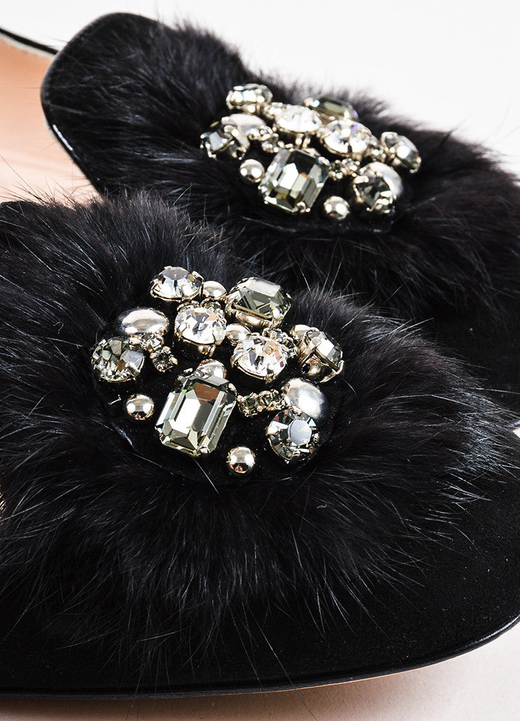 Prada Black Suede Leather Fur Crystal Embellished Loafer Flats Detail