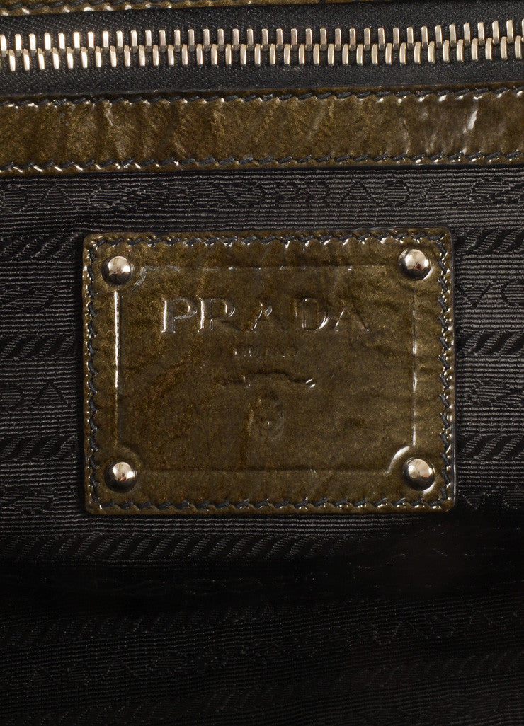 Prada Dark Green and Black Ombre Patent Leather Satchel Bag Brand