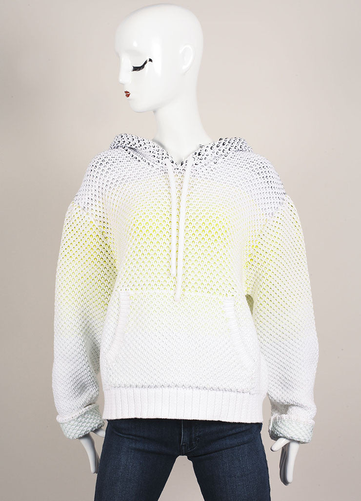 Proenza Schouler White and Neon Cotton Chunky Knit Pull Over Hooded Sweater Frontview