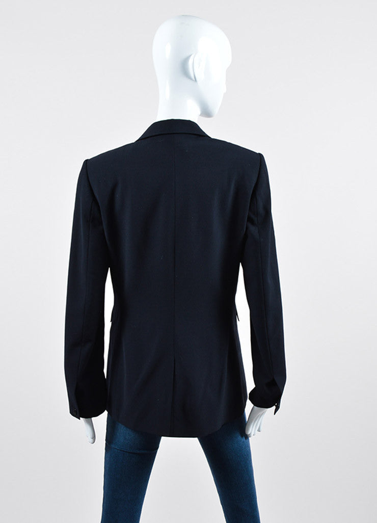Rag & Bone Black Satin Trim Long Sleeve Single Button Blazer Jacket Backview