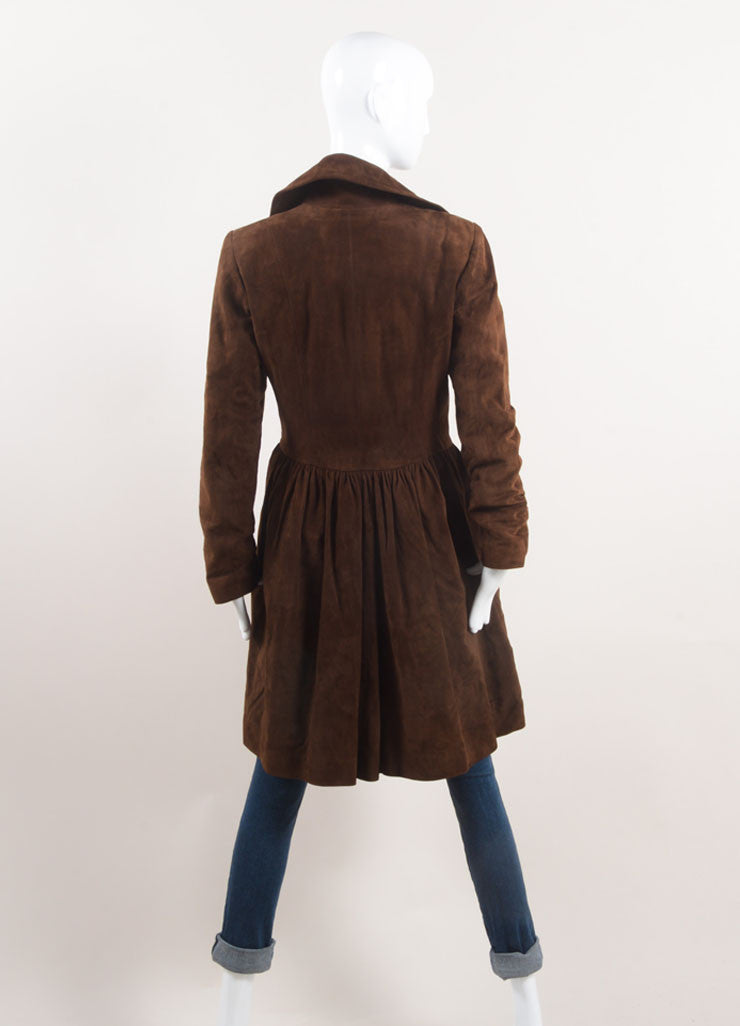 Ralph Lauren Collection Brown Suede Leather Long Sleeve Jacket Backview